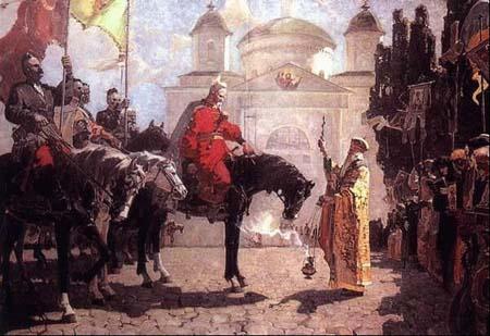 Історична подія, початок XVI ст. Благословення перед Катедральним храмом  у Каневі козацького полководця Остапа Дашкевича